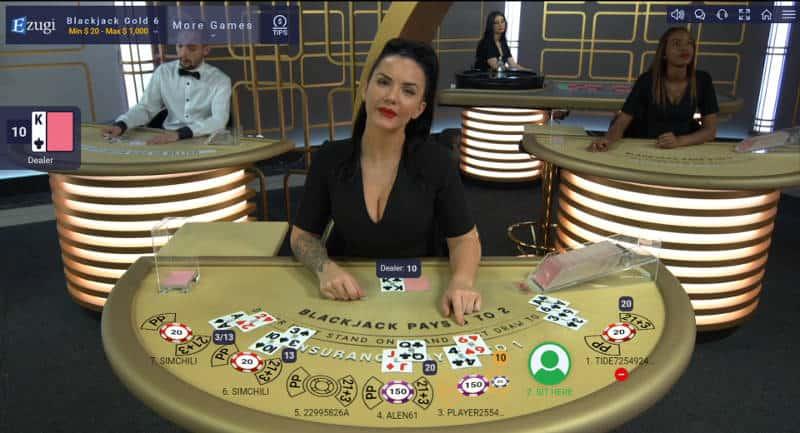 ezugi live blackjack dealer