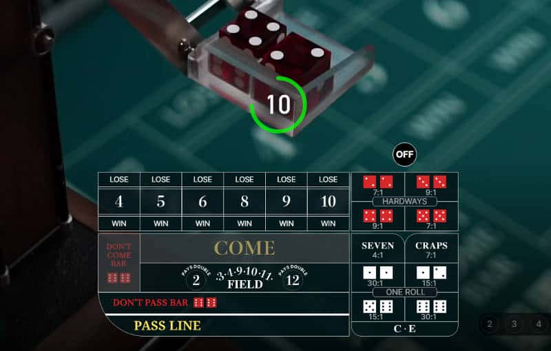live craps table state