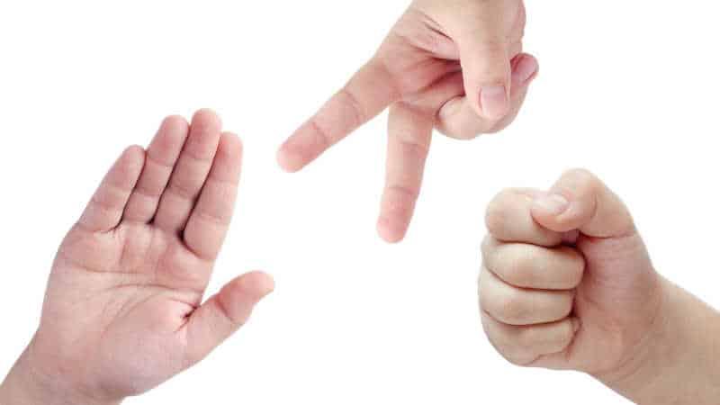 rock paper scissors hands