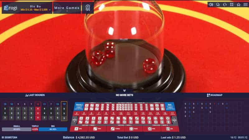 ezugi close up of sic bo dice shaker