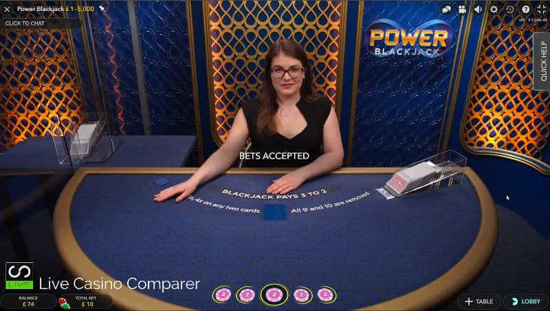 betting time for live dealer power blackjack