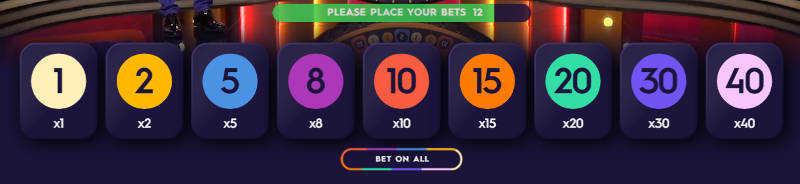 mega wheel betting options