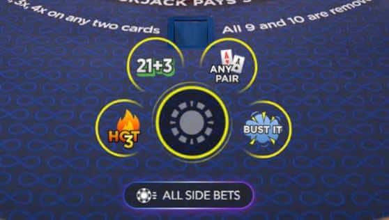 Placing bets on Power Blackjack
