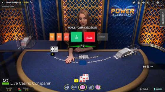 Power Blackjack fullscreen mode