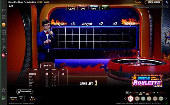 mega Fire Blaze Roulette Bonus Grid