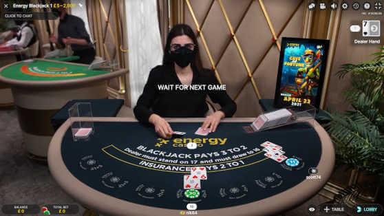 Energy live blackjack table