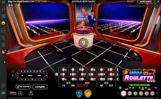 mega fire blaze live roulette