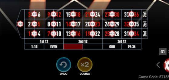 mega Fire Blaze Roulette split bets
