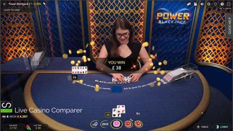 Dealer loses at Evolution Power Blackjack