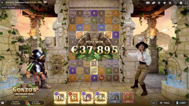 gonzos treasure hunt live - prize payout