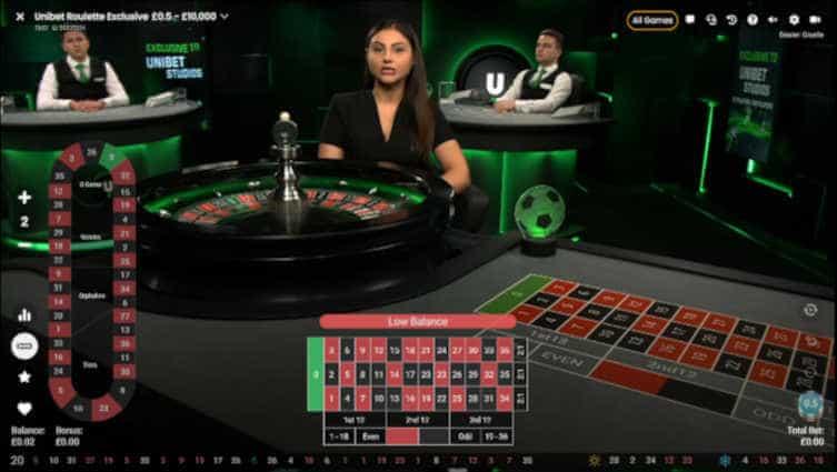 unibet dedicated pragmatic roulette table