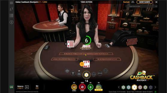 cashback blackjack live
