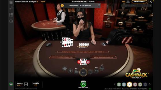 cashback blackjack showdown