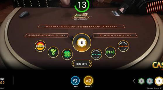 cashback blackjack side bets