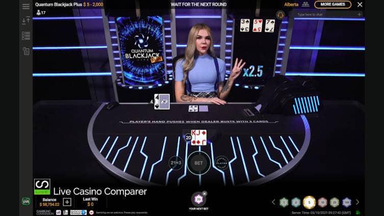 full screen playtech quantum blackjack plus