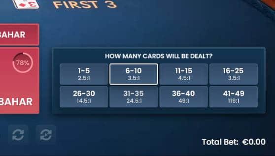 pragmatic andar bahar number of cards side bet