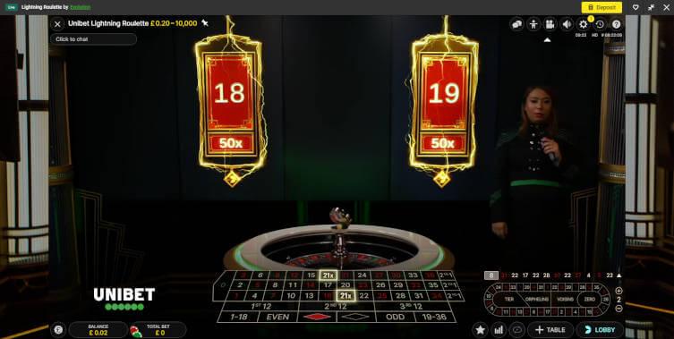 unibet lightning roulette numbers